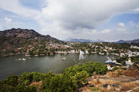 High angle view of fountain in nakki lake  mount abu  sirohi district  rajasthan  india