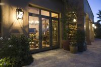 Palm springs exterior with wall mounted lighting