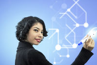 Side view portrait of smiling businesswoman writing of visual screen