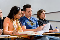 Students studying in class