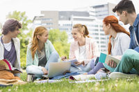 University students studying together on grass