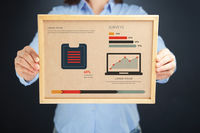 Woman holding board with surveys concept and infographics