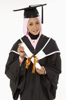 Popular : Woman holding graduation scroll  smiling
