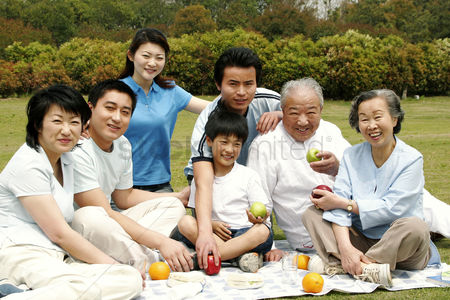 Relationship : A big family picnicking in the park