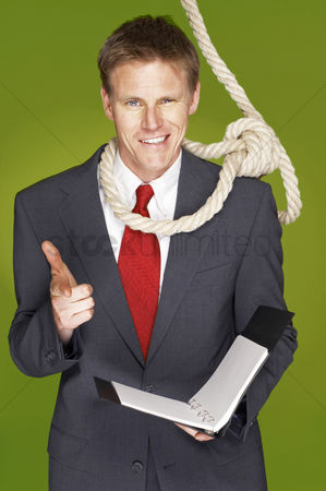 Rope : A man with rope hanging around his neck showing a hand gun