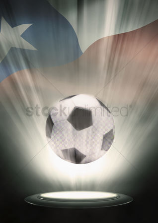 Hexagon : A soccer ball with chile flag backdrop