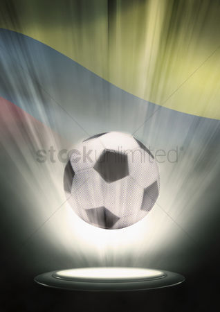 Hexagon : A soccer ball with colombia flag backdrop