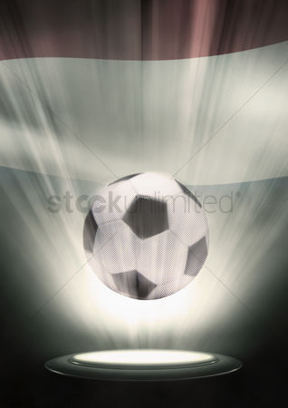 Nationality : A soccer ball with netherlands flag backdrop