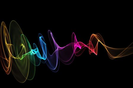 Black background : Abstract design with multi-colored lines
