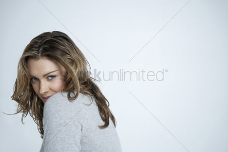 White hair : Attractive young woman portrait