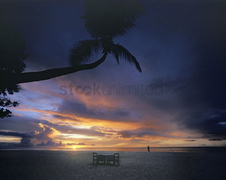 Furniture : Beach at sunset