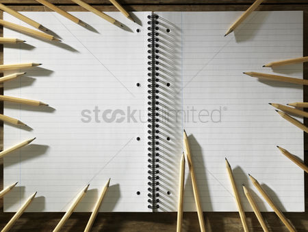 Blank : Blank pad of paper and ring of sharpen pencils
