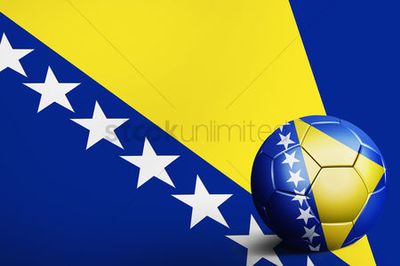 Bosnia and herzegovina : Bosnia and herzegovina flag with soccer ball