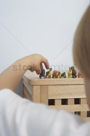 Collection : Boy arranging dinosaurs figurines close-up back view