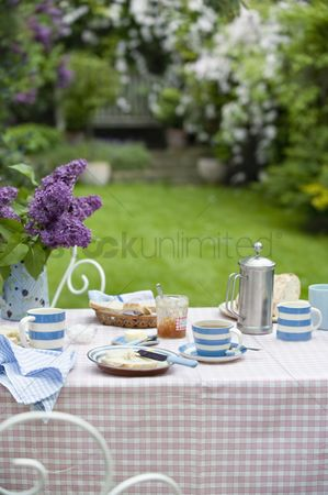 England : Breakfast table in back garden