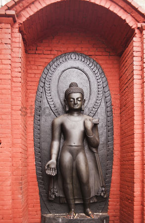 God : Buddha statue at the temple of swayambhunath  kathmandu  nepal