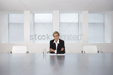 One person : Business executive sitting in boardroom