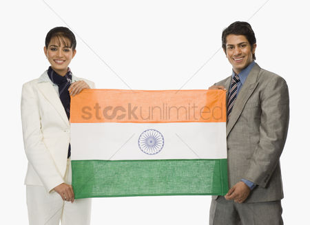 Respect : Business executives holding indian flags