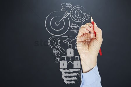 Sales person : Business ideas drawn on board concept