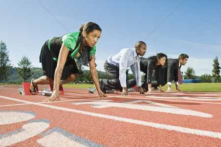 Sports : Business people at starting blocks