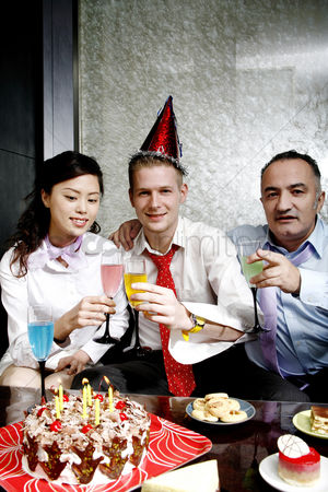 Toasting : Business people celebrating birthday