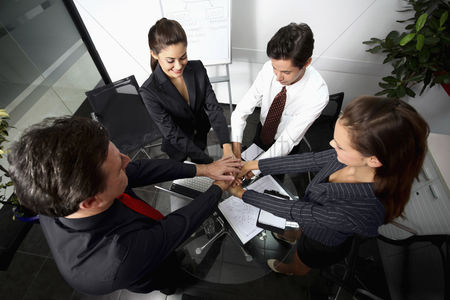Satisfaction : Business people in huddle