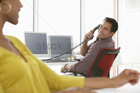 Office worker : Business people in office smiling