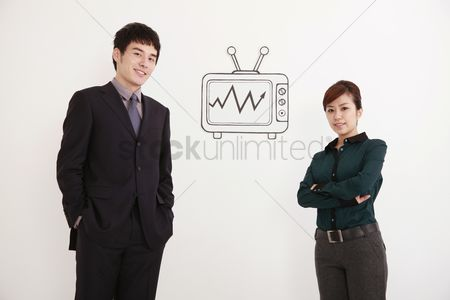 Cardboard cutout : Business people smiling confidently  television on the wall