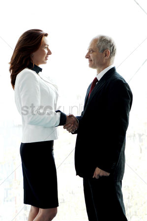 Determined : Businessman and businesswoman shaking hands