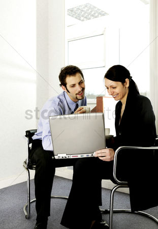 Funny : Businessman and businesswoman working together
