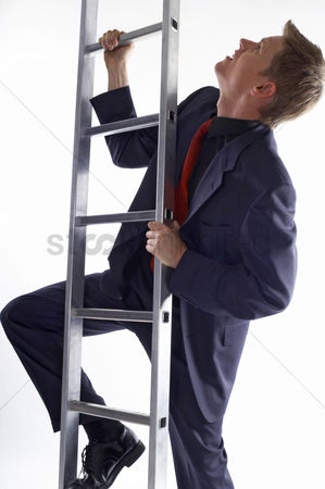 Sales person : Businessman climbing up the ladder