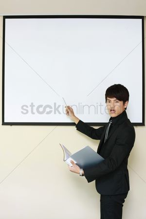 Motivation business : Businessman giving presentation