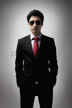 Man suit fashion : Businessman in full suit and with sunglasses