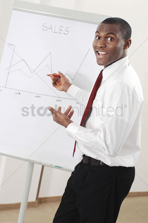 Determined : Businessman looking at the sales chart