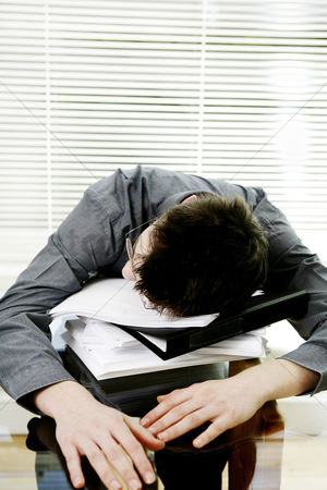 Office worker : Businessman sleeping on the table