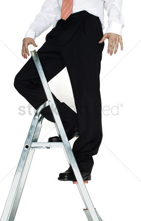 Corporation : Businessman standing on top of a ladder