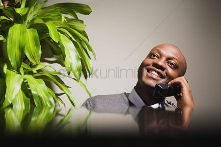 Interior : Businessman talking on telephone