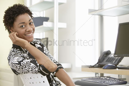 Office worker : Businesswoman in home office