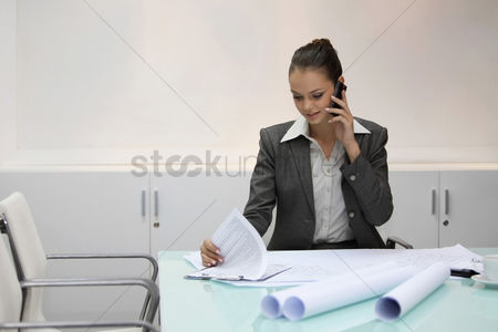 Expertise : Businesswoman talking on the phone while looking at document