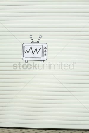 Cardboard cutout : Cardboard television on wooden wall