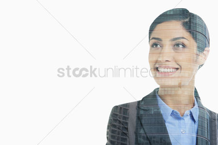 Iran : Cheerful businesswoman looking away from the camera