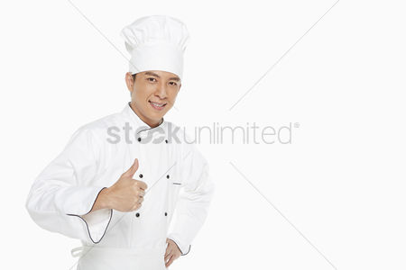 Malaysian chinese : Cheerful chef showing hand gesture