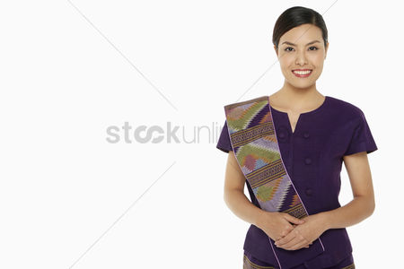 Traditional clothing : Cheerful woman in traditional clothing smiling