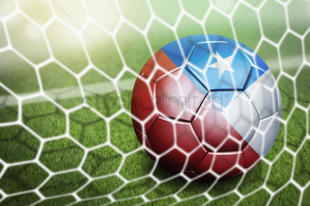 Pitch : Chile soccer ball in goal net