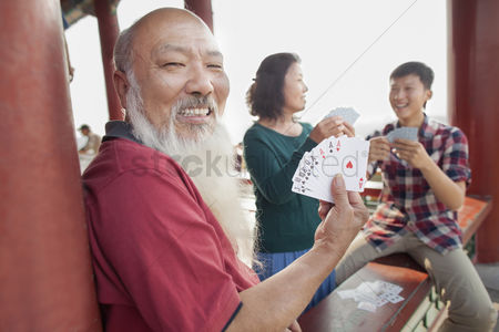 Forbidden : Chinese family playing card in jing shan park