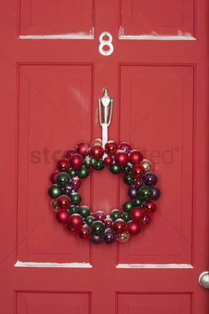 Winter : Christmas wreath hanging on door