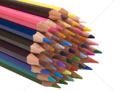 Collection : Close-up of a bundle of colored pencils