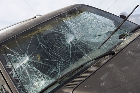Truck : Close-up of car with broken windshield