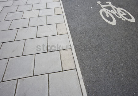 Forbidden : Close-up of cycle lane on the pavement
