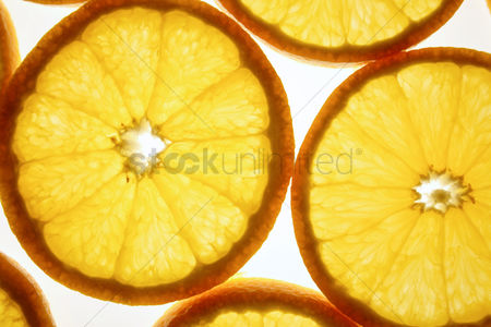 Refreshment : Close up of oranges on white background